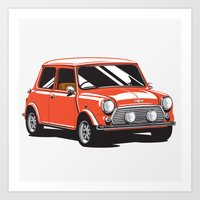 mini cooper Art Prints featuring Mini Cooper Car - Red by C Barrett