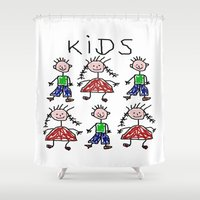 kids Shower Curtains featuring Kids by Digital-Art