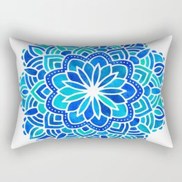 Mandala Iridescent Blue Green Rectangular Pillow