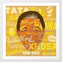 mandela Art Prints featuring Mandela by Gavin Morley