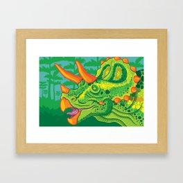 Triceratops (lime) Framed Art Print