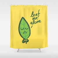 introvert Shower Curtains featuring The introvert leaf by Picomodi