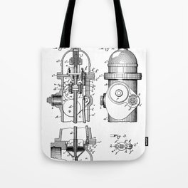 Fire Fighter Patent - Fire Hydrant Art - Black And White Tote Bag