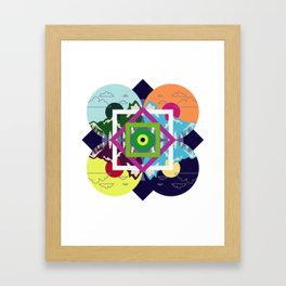 Colorful Abstract Geometry Art Mountain Framed Art Print