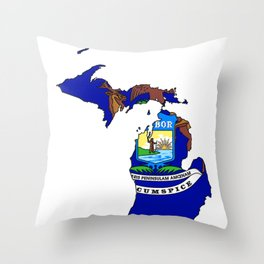 Michigan Map with Michigan State Flag Throw Pillow