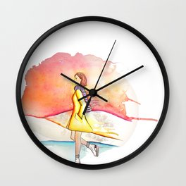 Ice skating in winter Wall Clock