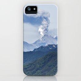 Summer mountain landscape, scenery eruption active volcano on Kamchatka Peninsula iPhone Case