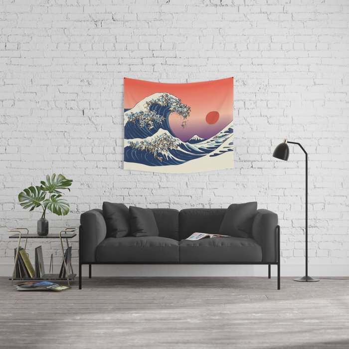 The Great Wave of Pugs_Square Wall Tapestry