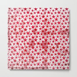 Red stars on grunge textured white background Metal Print
