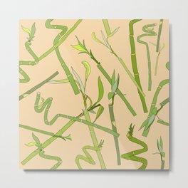 Scattered Bamboos on Beige Metal Print