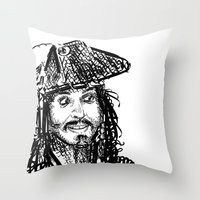 jack sparrow Throw Pillows featuring Jack Sparrow by Brittney Patterson