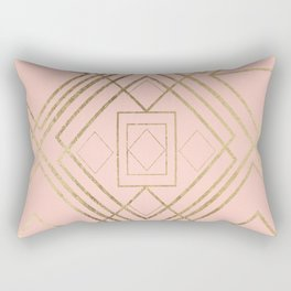 Modern coral faux leather faux gold geometrical pattern Rectangular Pillow