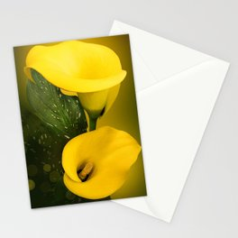 Calla Lily Bright Yellow Lives Bokeh Stationery Cards