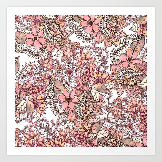 Boho chic red brown floral hand drawn pattern Art Print