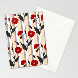 Retro. Red poppies on gray beige striped background. Stationery Cards