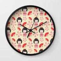 mini Wall Clocks featuring Mini Geisha by Vickn