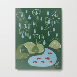 Animal Spirits in the rain with red fishes minimal illustration  Metal Print
