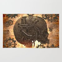 steampunk Area & Throw Rugs featuring Steampunk, skull by nicky2342