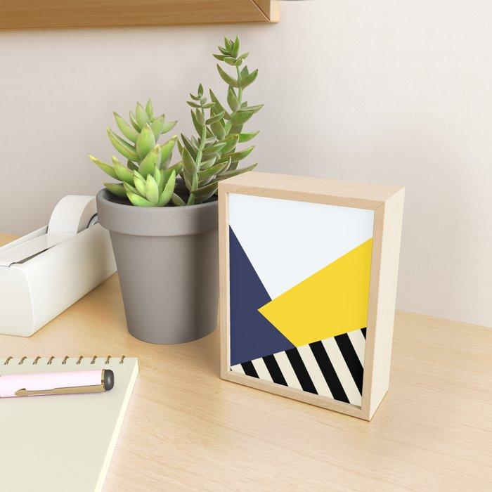 Bold Yellow Memphis Triangle Framed Mini Art Print
