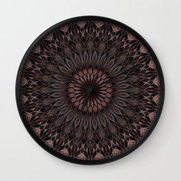 Pretty dark ornamented mandala Wall Clock