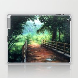 Landscape of nature with a wooden bridge Laptop & iPad Skin