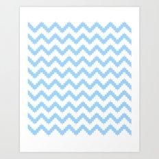 funky chevron blue pattern Art Print