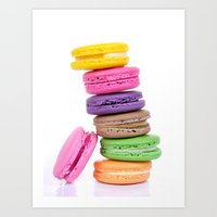 macaroons Art Prints featuring MacaroonS Colorful by Whimsy Romance & Fun