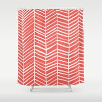 coral Shower Curtains featuring Coral Herringbone by Cat Coquillette