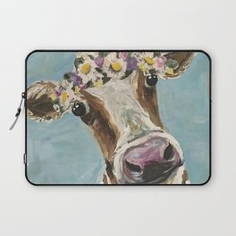 Flower Crown Cow Art, Cute Cow With Flower Crown Laptop Sleeve
