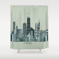 chicago Shower Curtains featuring Chicago  by bri.buckley