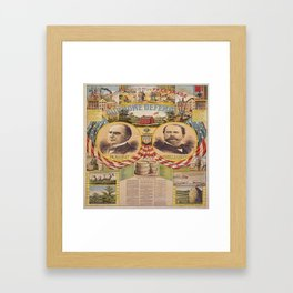 Mc. Kinley and Hobart Presidential Elections Vintage Poster 1896 Framed Art Print