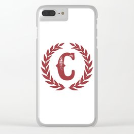 Rustic Red Monogram: Letter C Clear iPhone Case
