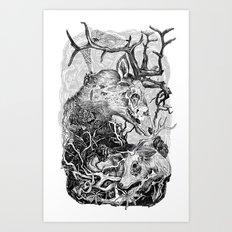 Elk Decay Art Print