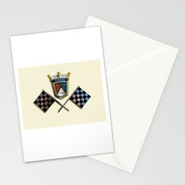 Vintage 1955 Thunderbird emblem badge with checkered flags on Colonial White Stationery Cards