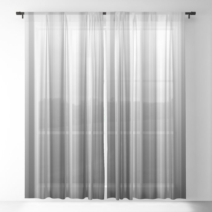 Black And White Soft Blurred Vertical Lines - Ombre Abstract Blurred Design Sheer Curtain
