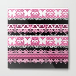Black and pink striped pattern . Metal Print