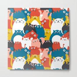 Cats Crowd Pattern Metal Print