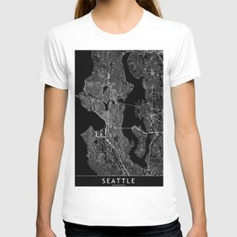 Seattle Black Map T-shirt