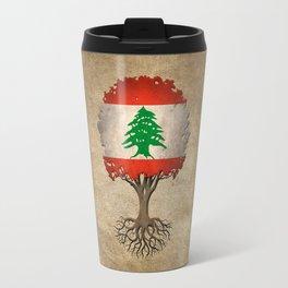 Vintage Tree of Life with Flag of Lebanon Travel Mug