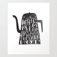 coffee Art Prints featuring COFFEE & LOVE by Matthew Taylor Wilson