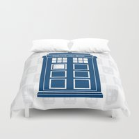 tardis Duvet Covers featuring Tardis by Rose Runser