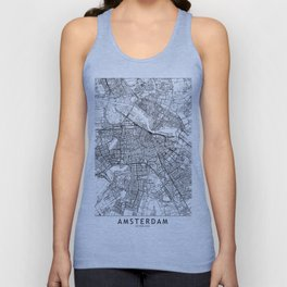 Amsterdam White Map Unisex Tank Top