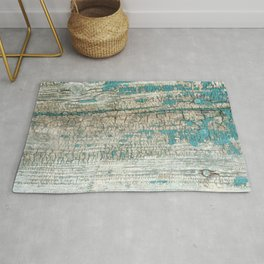 Rustic Wood Turquoise Weathered Paint Wood Grain Rug