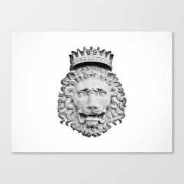 BW Stone Lion Canvas Print
