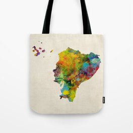 Ecuador Watercolor Map Tote Bag
