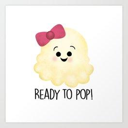 Ready To Pop - Popcorn Pink Bow Art Print