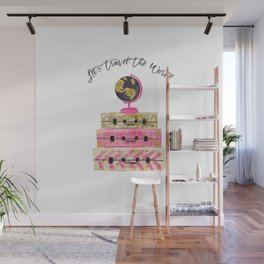 Let's Travel The World, Bag, Asia, Africa, Australia, America, Pink, Plane, Beauty, Happines Wall Mural