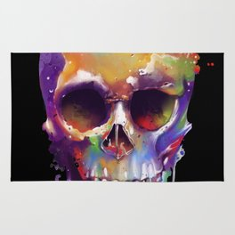 colorful skull black Rug