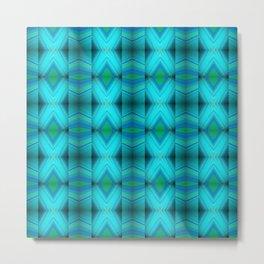Aqua Blue Green Diamond Pattern Design Metal Print