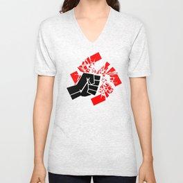 Obliterate Hate (black & red) Unisex V-Neck
